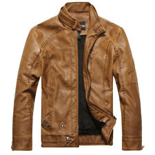 New Mens Slim fit Winter Motorcycle Bomber Flight Zip Faux Leather Jackets