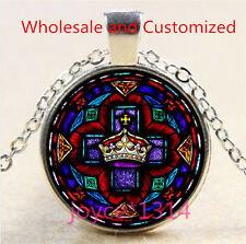 Saint Jesus Crown Stained Cabochon silver Glass Chain Pendant Necklace #4790