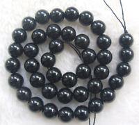 "4mm 6mm 8mm 10mm 12mm Natural Black Tourmaline Round Loose Beads 15.5"""