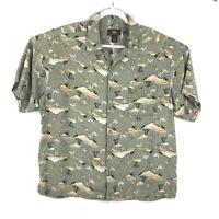 Route 66 Hawaiian Camp Tropical Print Shirt Short Sleeve Rayon Mens Size XL