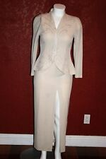 UNBRANDED FORMAL MAXI  WHITE DRESS  LONG SLEEVE EMBROIDERY AND BEADS DETAIL