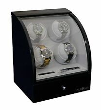 Pangaea Quad 4 Automatic Watch Winder Rotator Wood Storage Box Case Black
