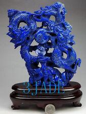 Natural Lapis Lazuli Playing Dragons Statue / Sculpture / Carving