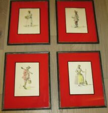 4 Rare Striking Watercolors w Reverse Painted Mats of Colonial People