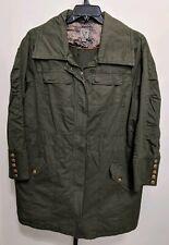 Dressbarn Women's Plus Casual Coat Jacket Zip Army Green Cotton Size 2X NEW