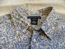 Tommy Hilfiger Vintage Fit L/S Button Up Blue White Paisley Mens Shirt Size XXL