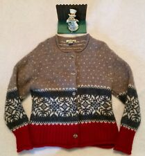 Eddie Bauer Sweater Women's M 100% Wool Christmas Button Up Large. Minimal Wear