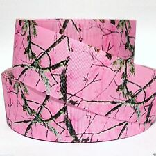 "Grosgrain Ribbon 5/8"", 7/8"", 1.5"", 3"" Tree Camouflage Camo Pink Cm1 Printed"