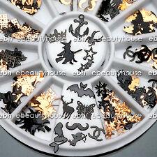 120 Pcs 3D Metal DIY Nail Art Tips Stickers Decal Black Slices Decoration #EG207