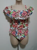 LA BLANCA Ruffle Tummy Control One-Piece White Floral Swimsuit Plus Size 18W 20W