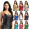 Nightclub Women Sequin Vest Bling Shiny Slim Camisole Tank Top Sleeveless Blouse