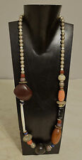 Necklace Asymmetrical Chinese Coral Black Horn Bone Doum Palm  Silver Beads
