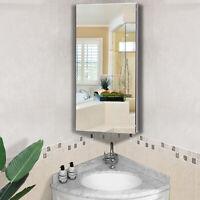 HOMCOM Bathroom Corner Wall Mirror Storage Cabinet Cupboard Stainless Steel