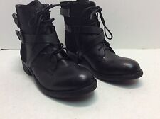 Rebels Lilo Dual Strap Lace Up Side Zip Combat Boots Black Size 6.5 #168