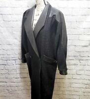 David Benjamin Women's Pure Wool Black Speckled Leather Trim Long Coat   Size 6
