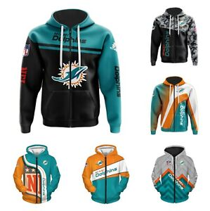 Miami Dolphins Fans Hoodie Football Zip Up Sweatshirt Jacket Sportwear Gift