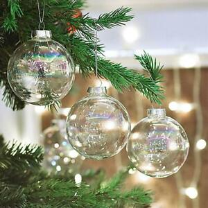 10/1X Iridescent Clear Glass Ball Fillable Baubles Hanging Christmas Wedding