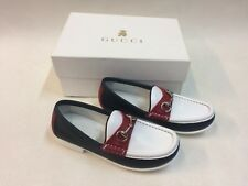 New Authentic Boxed Gucci White Red Navy Loafers Eu Size 32 Made In Italy e419a22ff294