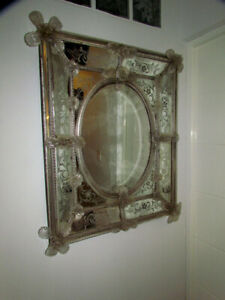Antique venetian etched glass wall mirror Italian