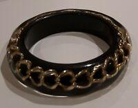 Vintage black Lucite encased Chain Detail Rare bangle