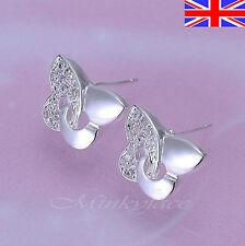 Silver 925 Sterling Pretty Butterfly Stud Earrings Girls Free Gift Bag