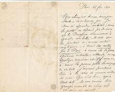 Médecine Paul Lorain lettre autographe signée guerre Mme Paul Schützenberger