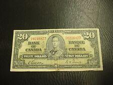 1937 - Bank of Canada $20 note - twenty dollar bill - CE6216877