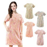 NEW Women's Short Sleeve Cotton House Dress Bata de Casa Green Blue Rose Purple