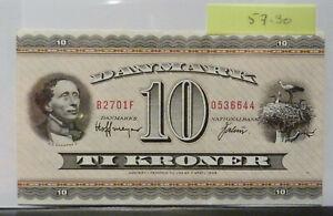Denmark 10 Kroner Banknote P#44 UNCIRCULATED (#57.30)