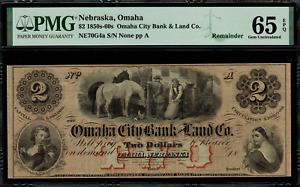 1850's $2 Obsolete - Omaha, Nebraska - Omaha City Bank & Land Co. - PMG 65 EPQ