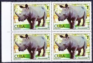 1978 MNH Blk, White Rhinoceros, Wild Animals