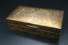 Beautiful Antique Engraved Copper Tobacco or Cigar Box Primitive