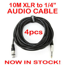 """4x 10-Metre QUALITY XLR Female to Male 1/4"""" Microphone Link Cable Lead Cord 10M"""