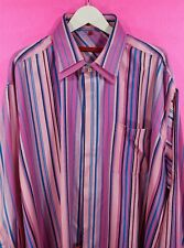 NEW CIBREO 100% SILK DRESS CASUAL LONG SLEEVES SHIRT STRIPED PINK 3XL