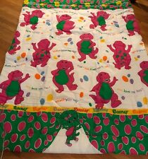 Vintage 1992 Barney & Friends I LOVE YOU Twin Bed Comforter Blanket Approx 86x62