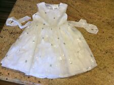 dress NWT GORGEOUS girls 8 white, silver bling Flowers fancy Quality NEW