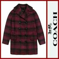 New Women's SZ L  Coach Wool Blend Plaid Long Peacoat Jacket Cranberry MSRP $675