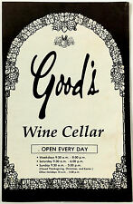 Vintage Original Menu GOOD'S FURNITURE Wine Cellar Restaurant Kewanee IL