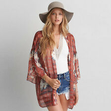Women Floral Loose Lace Shawl Kimono Chiffon Cardigan Ladies Jack Blouse Tops AU