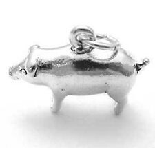 925 Sterling Silver 3D Heavy Pig Charm