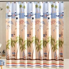 Catching Rays Fabric Shower Curtain Ocean Sailboat Beach Chair Palm Trees Tan