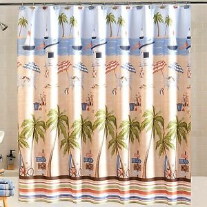Catching Rays Fabric Shower Curtain Ocean Sailboat Beach Chair Palm Trees Tan