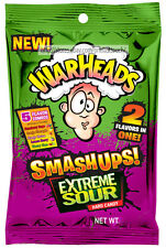 WARHEADS* 2+ oz Bag SMASHUPS EXTREME SOUR Hard Candy 2 FLAVORS IN ONE Exp. 2/20+