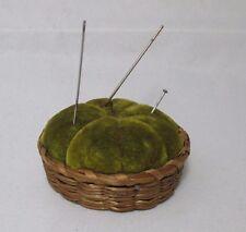 SAW GRASS Basket & PIN CUSHION  ;NOVELTY Original ,ANTIQUE, c1900's