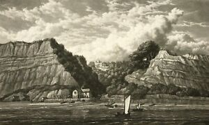 Isle of Wight SHANKLIN CHINE from the sea by Westall Aquatint c1836 Ackermann