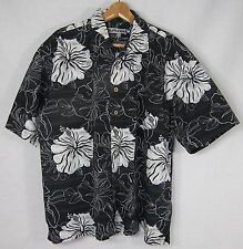 Burnside Cotton Hawaiian Style Shirt Men's XL Navy Blue & White Hibiscus Flowers
