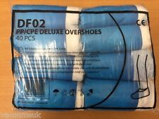 Professional Blue & White Durable Plastic Overshoes 40pcs (20 Pairs) Brand New