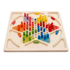 Fun Wooden Game Set 2 in 1 Chinese Checkers Flying Chess for Kids and Adults