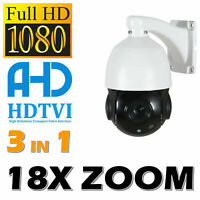 AHD 1080P HD Pan/Tilt Outdoor 18X Zoom PTZ IR Speed Dome CCTV Analog Camera