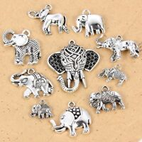 10 Mixed Tibetan Silver Tone Animal Elephant Charms Pendants DIY Jewelry Gift